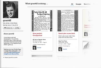 Profile page on Pittsburgh Post-Gazette Archive